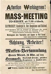 Truyền đơn kêu gọi biểu tình ở Quảng trường Haymarket 4.5.1886