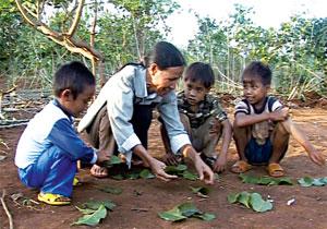 Cô Siu Hjel dạy học bằng lá và hạt me--20 năm gieo chữ làng Phong