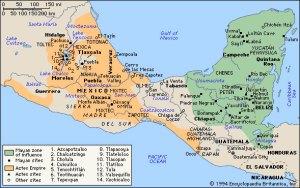 Vương quốc Maya (màu cam), Vương quốc Aztec (xanh lá cây) (trước khi bị Tây Ban Nha xâm chiếm)