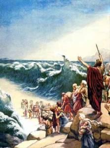 Moses crossing the rea  sea