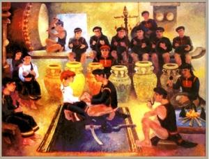 Lễ trao vòng - Tranh: Họa sĩ Y Nhi Ksor