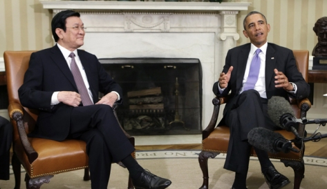 U.S. President Barack Obama meets with Vietnam's President Troung Tan Sang in the Oval Office of the White House, in Washington