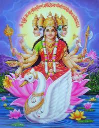 Nữ thần Gayatri  5 mặt, 10 cánh tay.