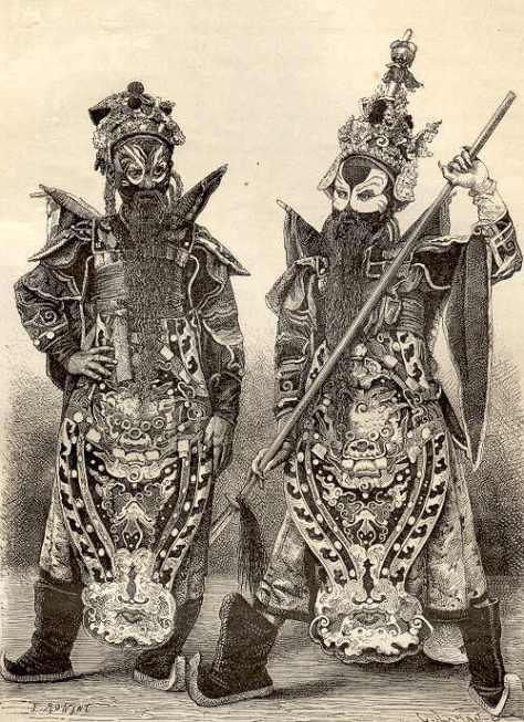 Diễn viên trong tuồng cung đình Huế, hình vẽ 1874
