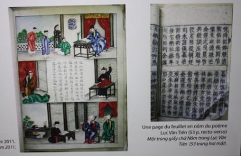 Ảnh bên trái là những hình màu minh họa, ảnh bên phải là một trong 53 trang giấy chữ Nôm in hai mặt tác phẩm Lục Vân Tiên.