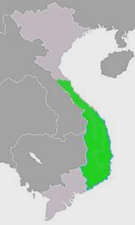 Phỏng đoán cương vực Chăm Pa vào thế kỷ 10 - thời điểm rộng nhất.