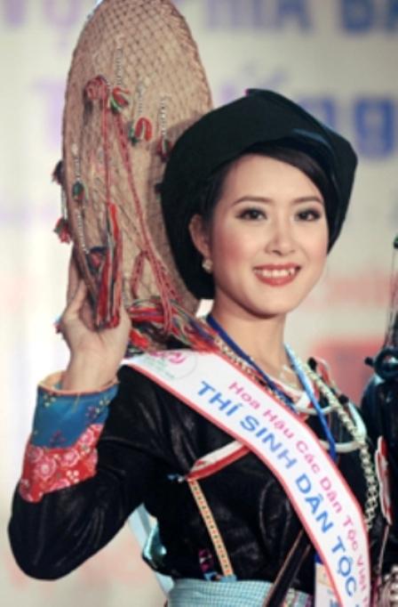 Sơn nữ Giáy, Thàn Thị Châm, trong một cuộc thi Hoa Hậu Dân Tộc.