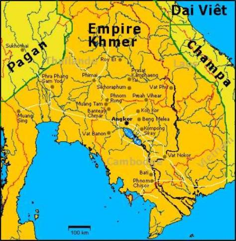 Bản đồ Đế quốc Khmer cuối thế kỷ 12.