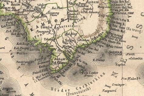 Bản đồ Campuchia (bảo hộ) và Nam Kỳ (thuộc địa) của Pháp khoảng năm 1863-1876 (thời kỳ đầu Campuchia nằm dưới sự bảo hộ của Pháp 1863-1890).