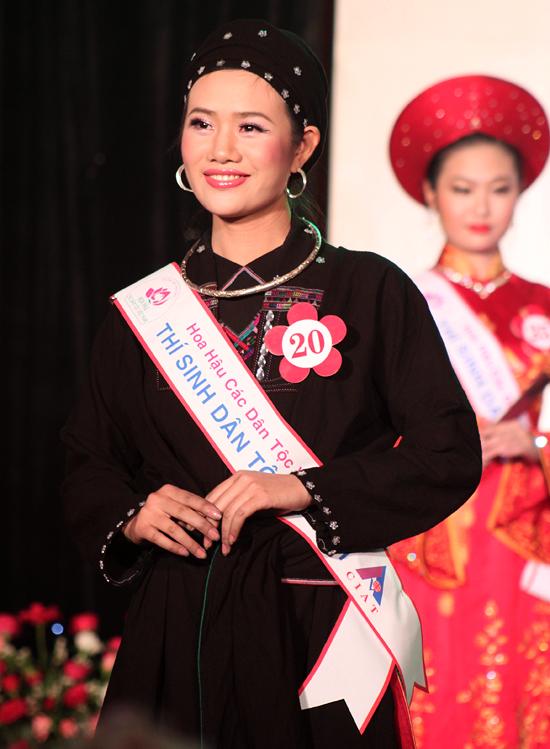 Vương Thị Phương, dân tộc La Chí (Hà Giang), trong một cuộc thi Hoa Hậu Dân Tộc.
