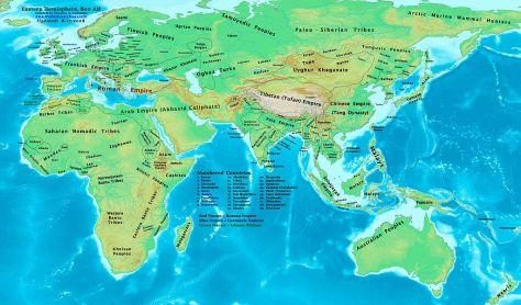 Châu Á vào khoảng năm 800, Vương quốc Nam Chiếu và các quốc gia lân bang.