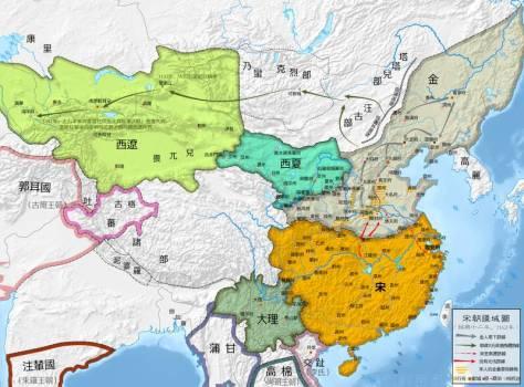Năm 1142   Đại Lý  (xanh lam), Nam Tống  (vàng), Kim (xám tro), Tây Hạ (xanh da trời),  Tây Liêu (xanh lá cây).