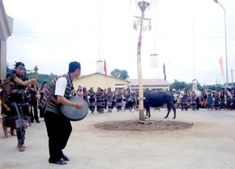 Lễ cúng thần Lúa là lễ lớn nhất trong năm với hình thức hiến sinh bằng việc dâng trâu.