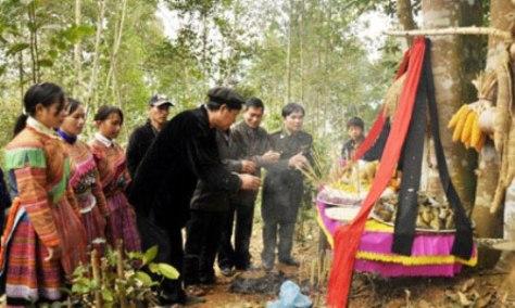 Lễ cúng rừng của người Mông thường được tổ chức vào đầu năm.