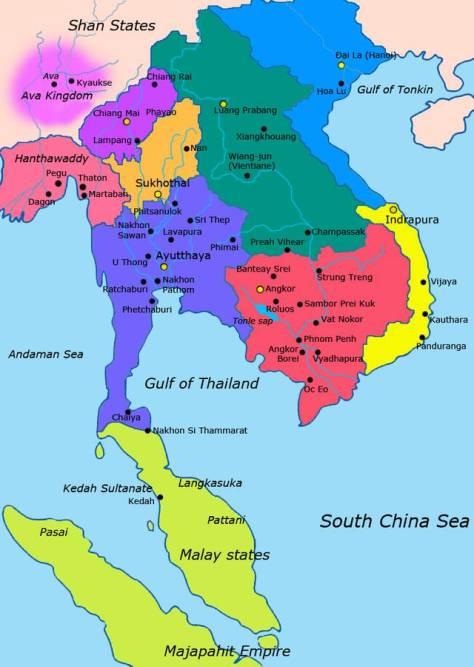 Bản đồ vị trí của Lan Xang.