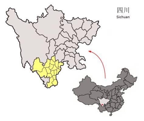 Vị trí của châu Lương Sơn trong tỉnh Tứ Xuyên.