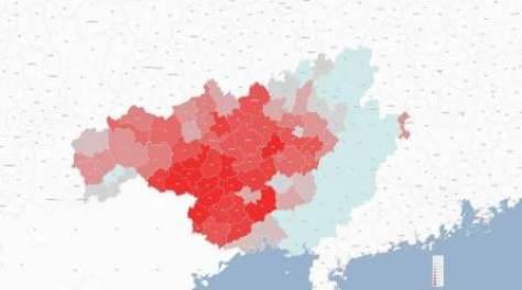 Bản đồ phân bố tỷ lệ phần trăm người Tráng tại Quảng Tây, châu tự trị Tráng-Miêu Văn Sơn (Vân Nam) và huyện tự trị Tráng-Dao Liên Sơn (Quảng Đông).