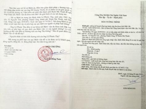 Trang 2 văn bản của Viện Kiểm sát và tường trình của Bs trực cấp cứu trong hồ sơ bệnh án