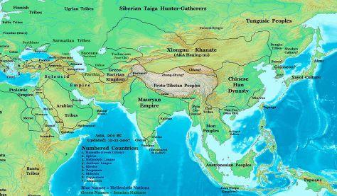 Bản đồ các nền văn hóa ở châu Á vào khoảng 200 năm trước công nguyên, cho thấy vị trí của văn hóa Sa Huỳnh.