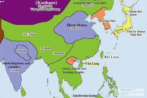 Bản đồ Lãnh thổ nước Văn Lang năm 500 TCN.