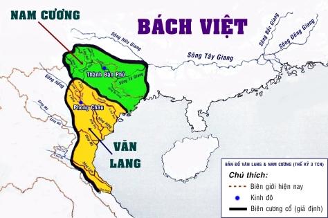 Bản đồ Văn Lang và vị trí Bách Việt.