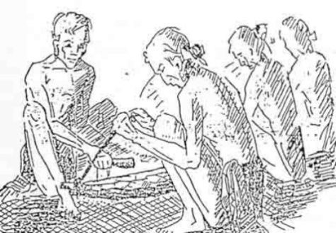 Cách chơi đàn: 3 người cầm dây nâng 3 thanh đàn đá, người chơi đàn ngồi đối diện cầm dùi đá gõ.