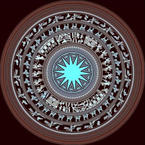 Các hình khắc trên bề mặt trống đồng Ngọc Lũ.