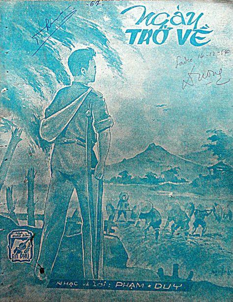 Bản nhạc Ngày trở về do An Phú xuất bản năm 1954, ca khúc này được Phạm Duy viết năm 1954 khi ông lên đường đi Pháp du học.