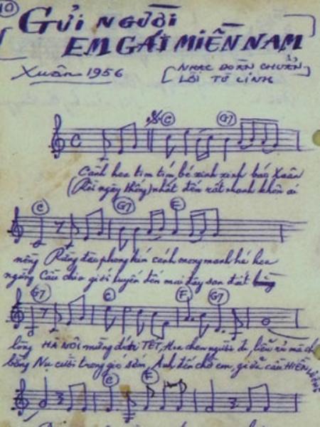 Bài hát Gửi Người Em Gái Miền Nam viết bằng tay của Đoàn Chuẩn - Ảnh: Tư liệu.