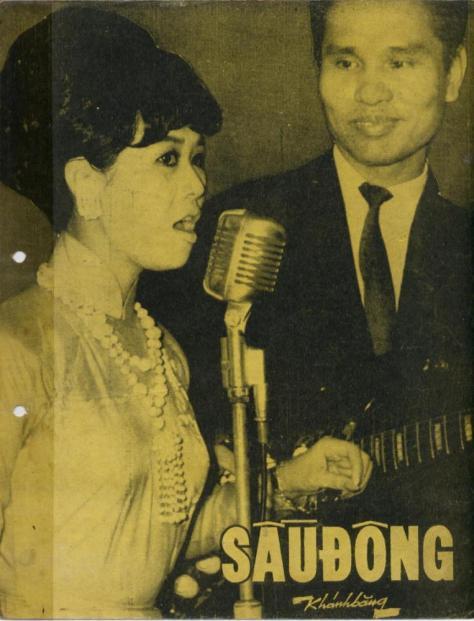 """Danh ca Bạch Yến và NS Khánh Băng trên trang đầu bài nhạc """"Sầu Đông"""" của ông."""