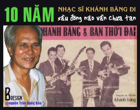 Ảnh trái: Trần Quốc Bảo chụp Khánh Băng năm 1995, ảnh phải là ban nhạc Thời Đại với 4 nhạc sĩ Dương Quang Định, Dương Quang Lê Minh, Khánh Băng, Phùng Trọng.. chụp khoảng năm 1962-1963.