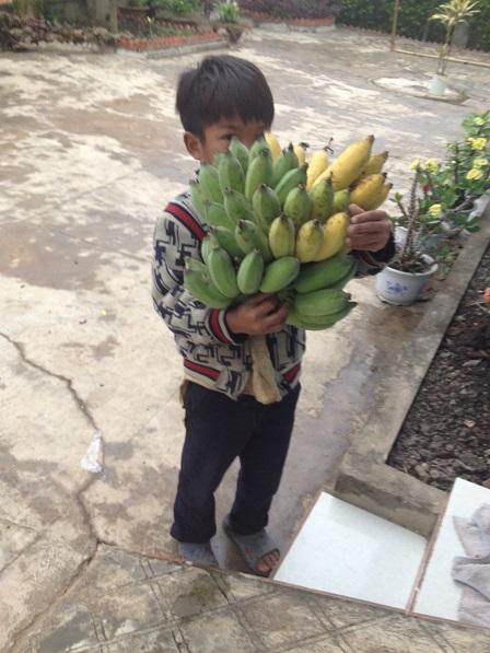 Ảnh em Kali học lớp Hai bê buồng chuối qua biếu bà ngoại Vân, cách nhà em Kali khoảng ba mươi mét.