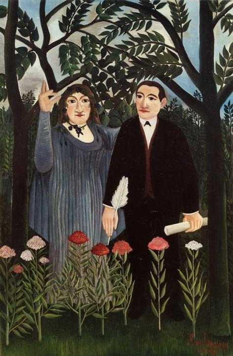 Henri Rousseau: La Muse inspirant le poète (1909) (Tranh vẽ Guillaume Apollinaire và bạn gái Marie Laurencin.)