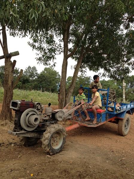 Ảnh các em nhỏ trong Buôn Làng trên xe công nông đi xạ lúa về.