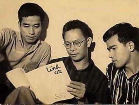 Từ trái qua: Cung Trầm Tưởng, Phạm Duy, Ngy Cao Uyên. (Hình phamduy.com)