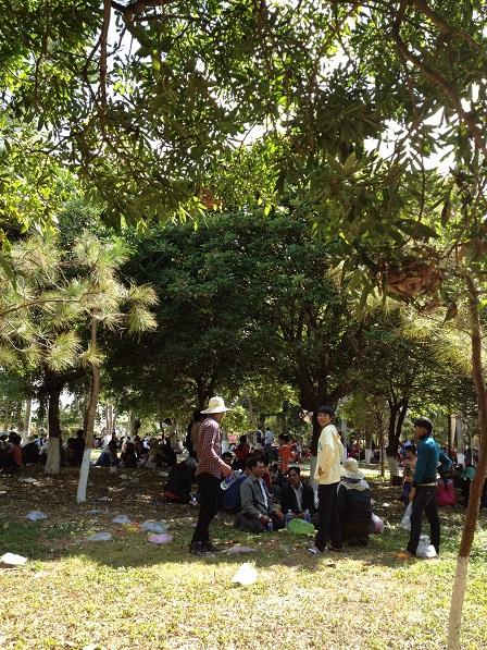 4/ Ảnh các gia đình anh em sắc tộc Jarai ngồi theo từng gia đình chơi tết trong công viên Đồng Xanh ngàyMồng một Tết Bính Thân 2016