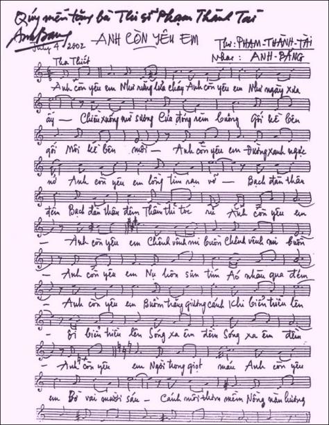 Thủ bút của Nhạc sĩ Anh Bằng.