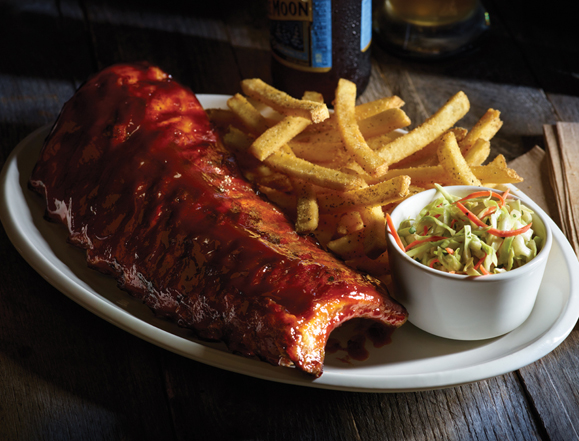 """Full Rack"" of ""Double-Glazed Baby Back Ribs""."