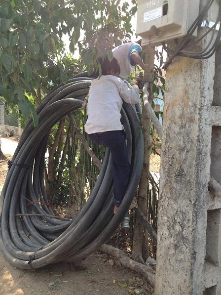 1/ Ảnh em Hoal và em Xiêm đang trèo lên cuộn dây tưới cà-phê của nhà bố mẹ Kali
