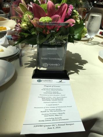 Huy hiệu giải Woman of Distinction của Tổng Hội Nữ Doanh Nhân Quốc Gia Mỹ của Thanh Nguyên (Nikki Trowbridge)