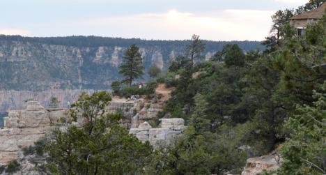 Các bạn có nhìn thấy các du khách đang khám phá ở sườn đồi canyon bên cạnh?