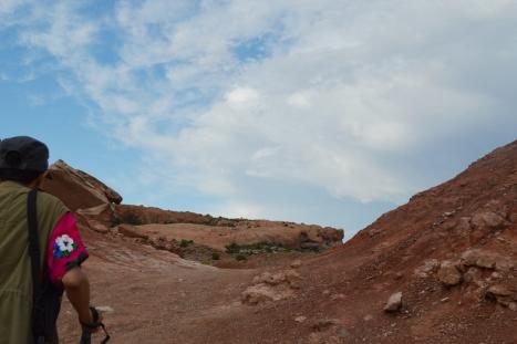 Đường lên Delicate Arches. Trên đoạn đường này du khách phải leo qua ngọn đồi cao 500 feet (166.7 m) tính từ bãi đậu xe lên tới đỉnh. Các bạn có nhìn thấy đỉnh đồi ở chính giữa ảnh với chi chích khách du lịch đang leo không?