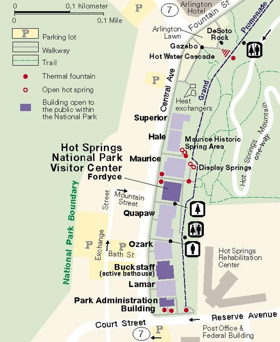 Bản đồ hướng dẫn vị trí của các nhà tắm công cộng có lệ phí.