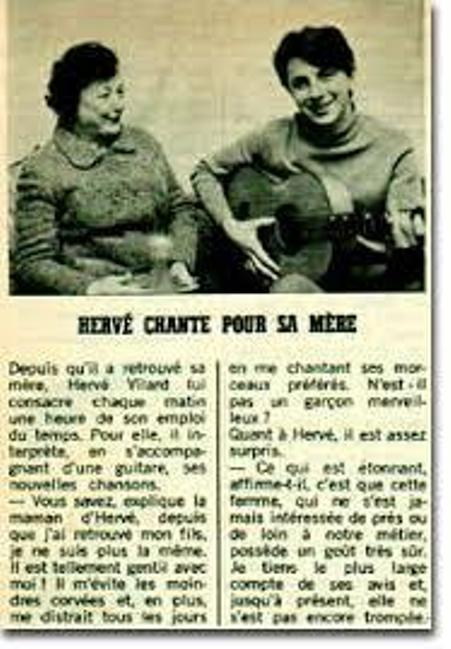 Marcelle Blanche Villard và Hervé Vilard trên tờ tạp chí France Dimanche.