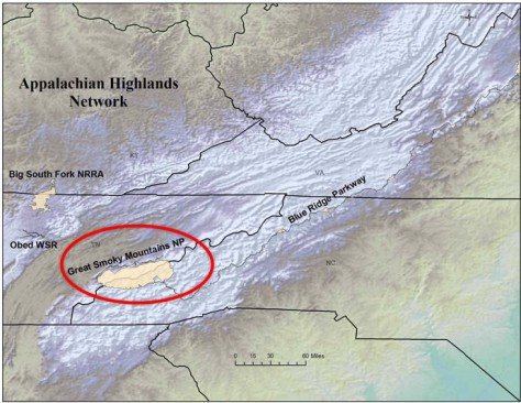 Bản đồ địa hình Công Viên Quốc Gia Great Smoky Mountains (màu trắng trong vòng màu đỏ)