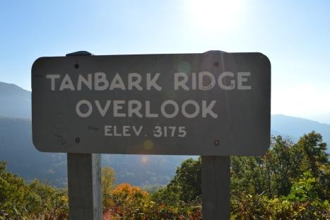 Điểm dừng đầu tiên, Tanbark Ridge Overlook, cao 967.74m.