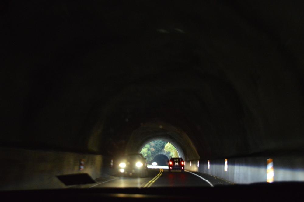 Bên trong đường hầm không bị mây mù che.