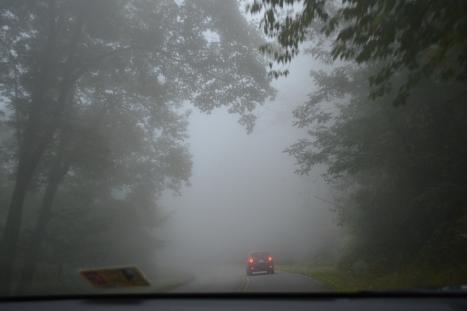 Đi một đoạn ngắn nữa thì mây dày đặc trở lại và chỉ còn nhìn thấy khoảng 50m phía trước chổ chiếc xe đang đi trước mặt.