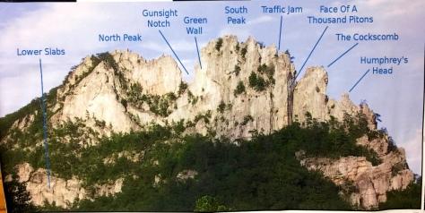 Bản đồ địa hình hướng dẫn cho rock climbers trên Seneca Rocks.