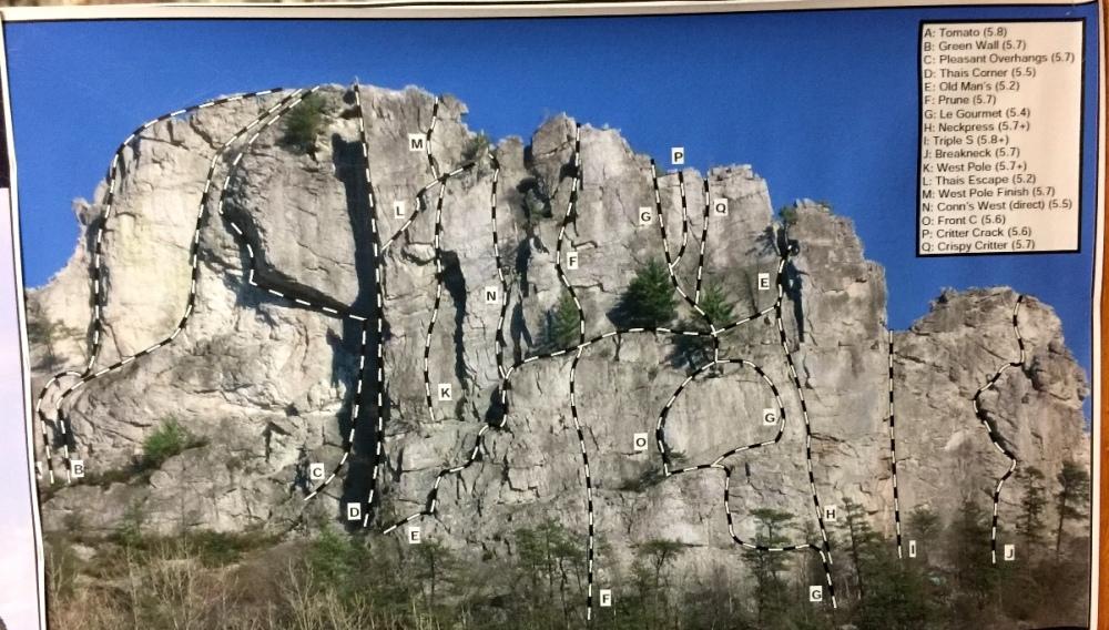 Bản đồ địa hình hướng dẫn cho rock climbers trên Seneca Rocks (2).